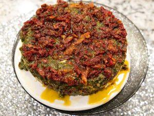 Spinach Walnut Pesto and Sun-Dried Tomato Cheese Torta - Keto Low Carb Recipe