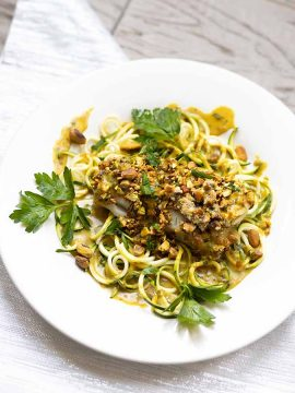 Pistachio Encrusted Cod with Thai Coconut Sauce